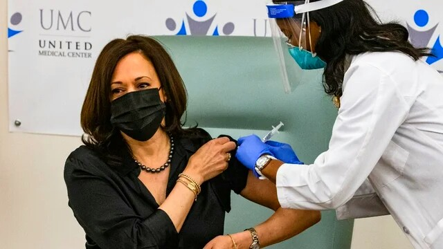 Kamala Harris Receives COVID Vaccine on Camera, Urges Americans to Get Vaccinated